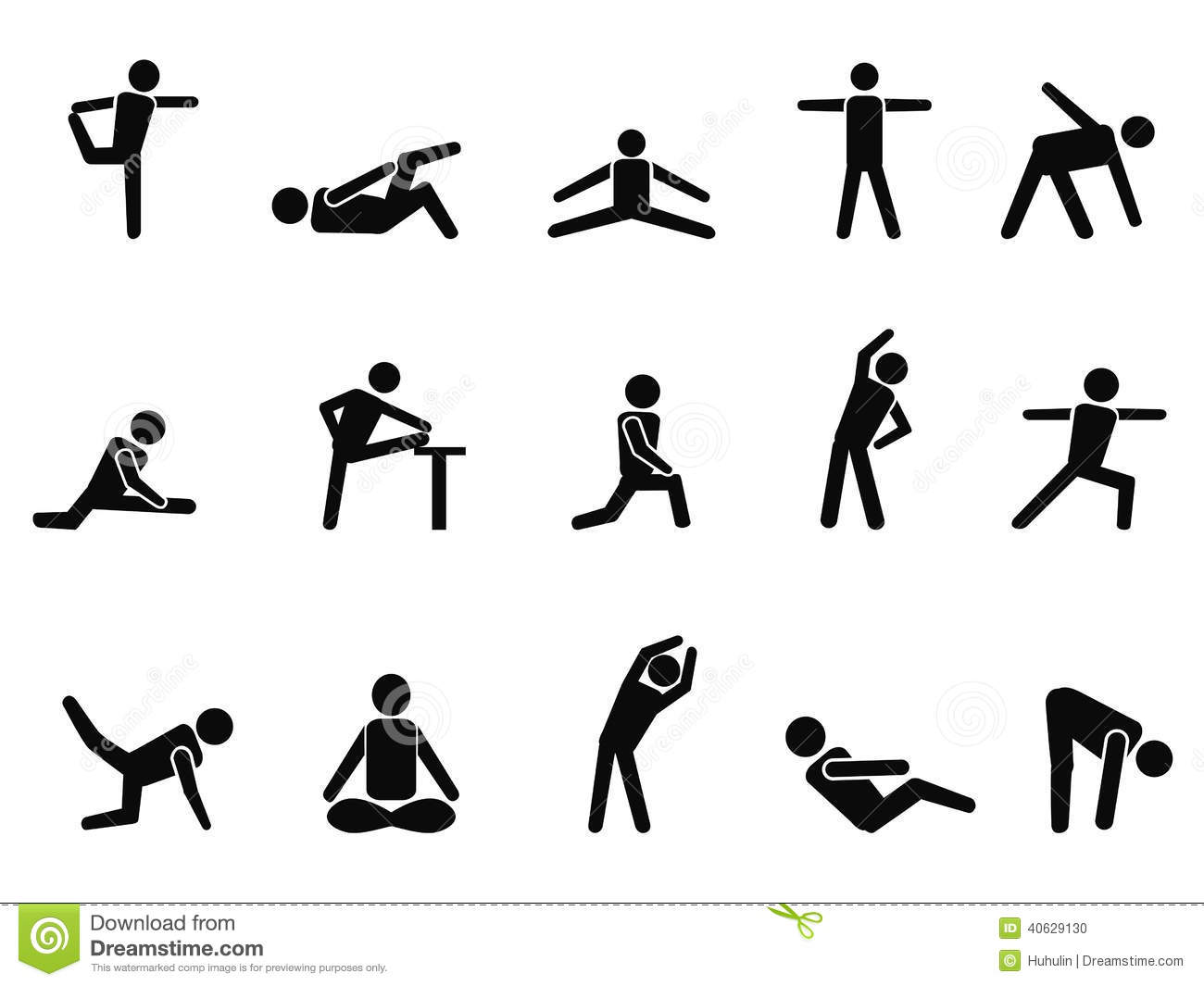 Exercise Stretching Icons Stock Vector - Image: 40629130