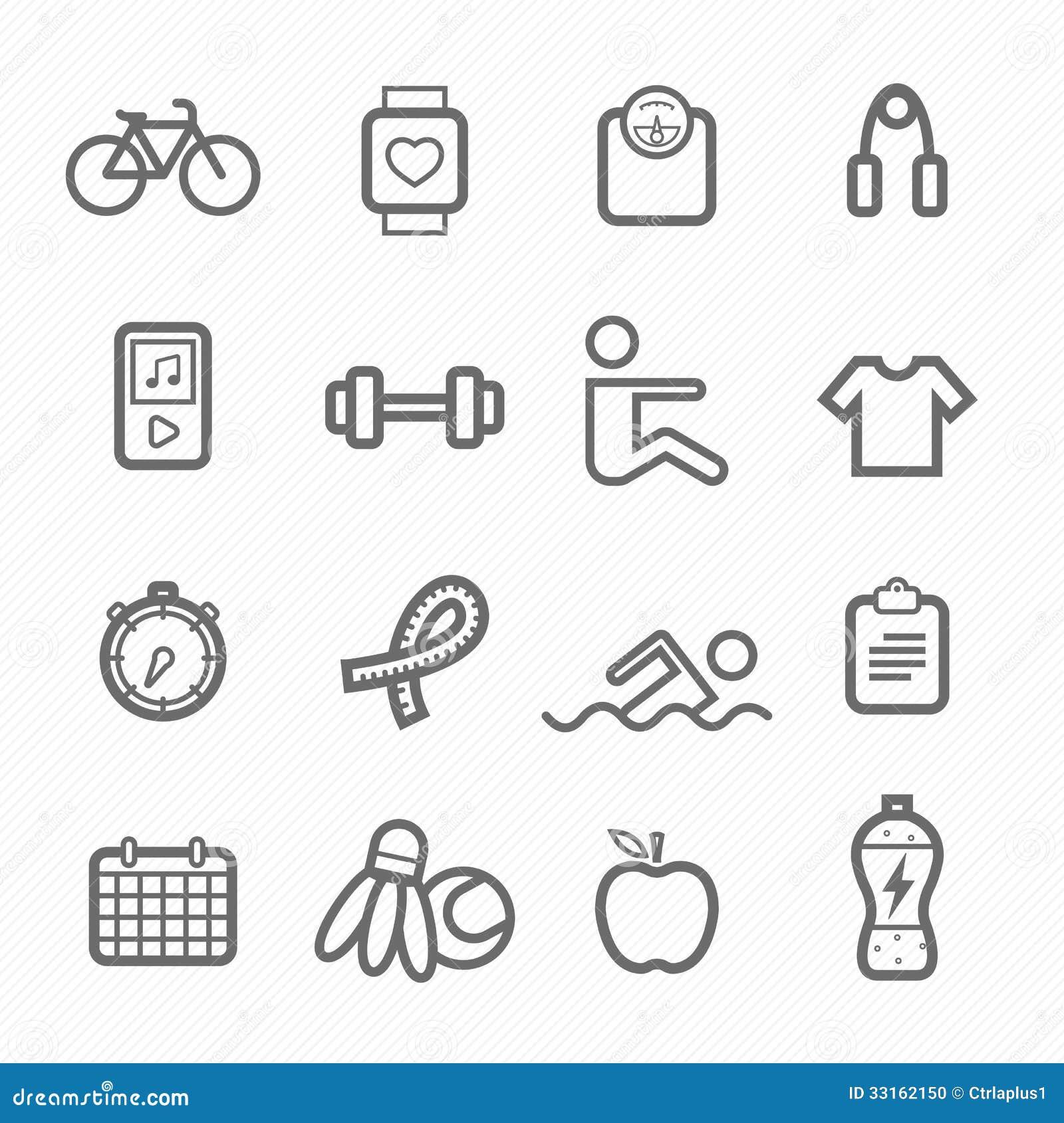 Exercise Symbol Line Icon Set Stock Vector Illustration