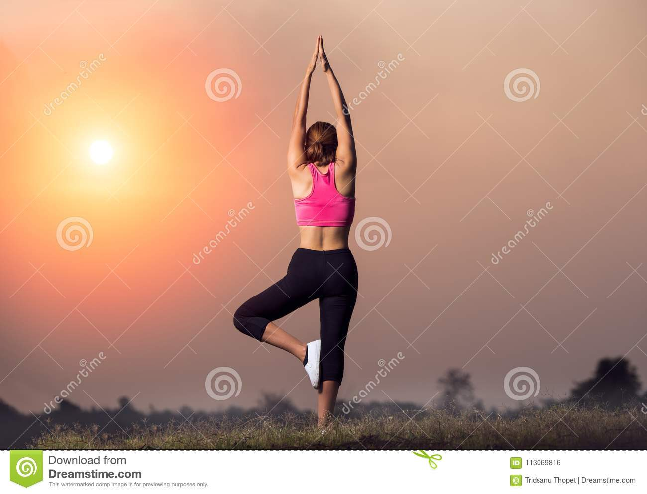 Exercise or yoga pose stock photo. Image of adult, outdoors