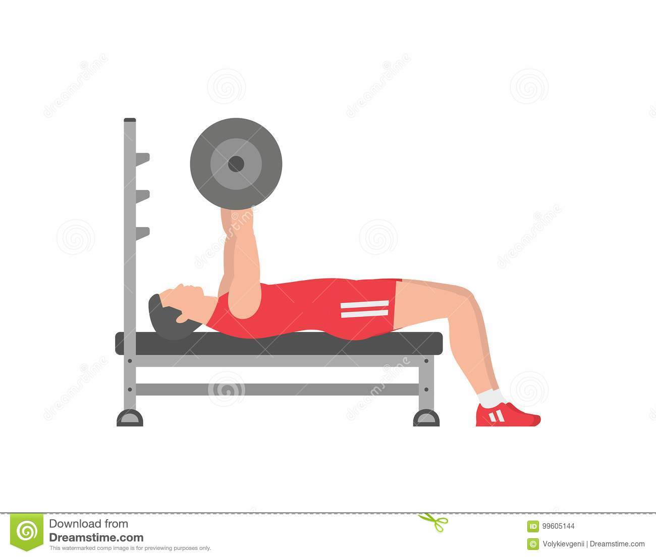 Enjoyable Man Pumping Up Muscles On Bench Press Stock Vector Camellatalisay Diy Chair Ideas Camellatalisaycom