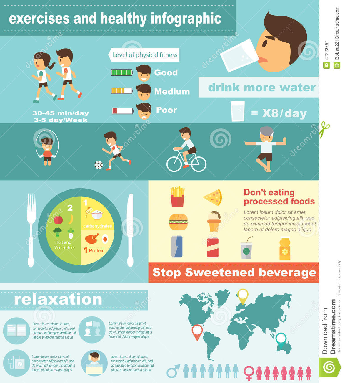 Exercises Fitness And Healthy Lifestyle Infographic Stock Illustration ...