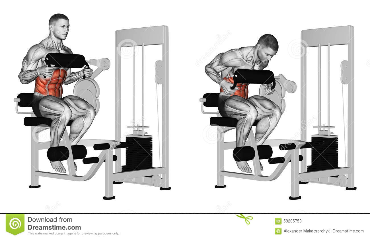 Exercising Abdominal Crunch In Ab Machine Royalty Free