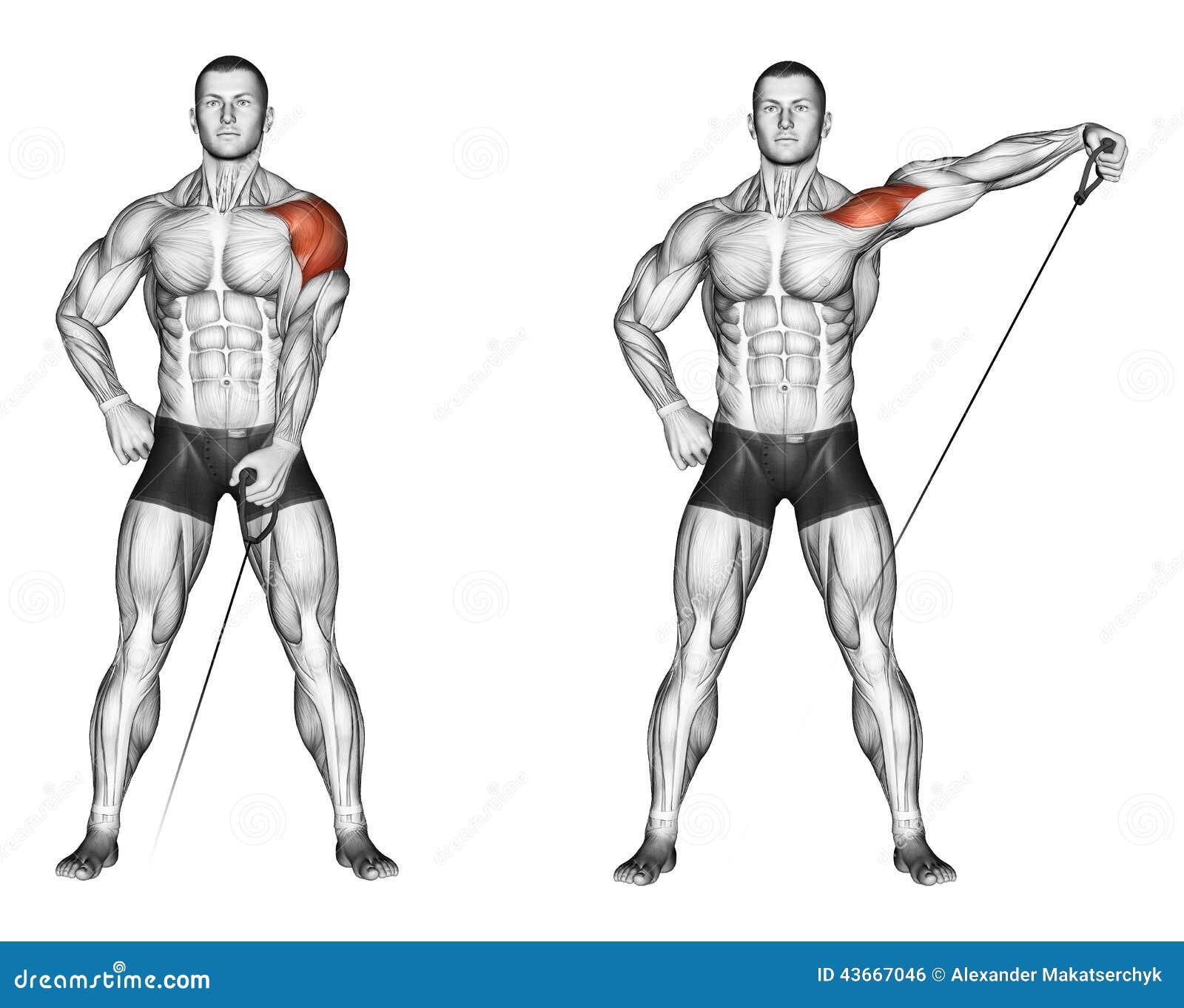 Exercising Elevación de sus manos al lado con el bloque más bajo