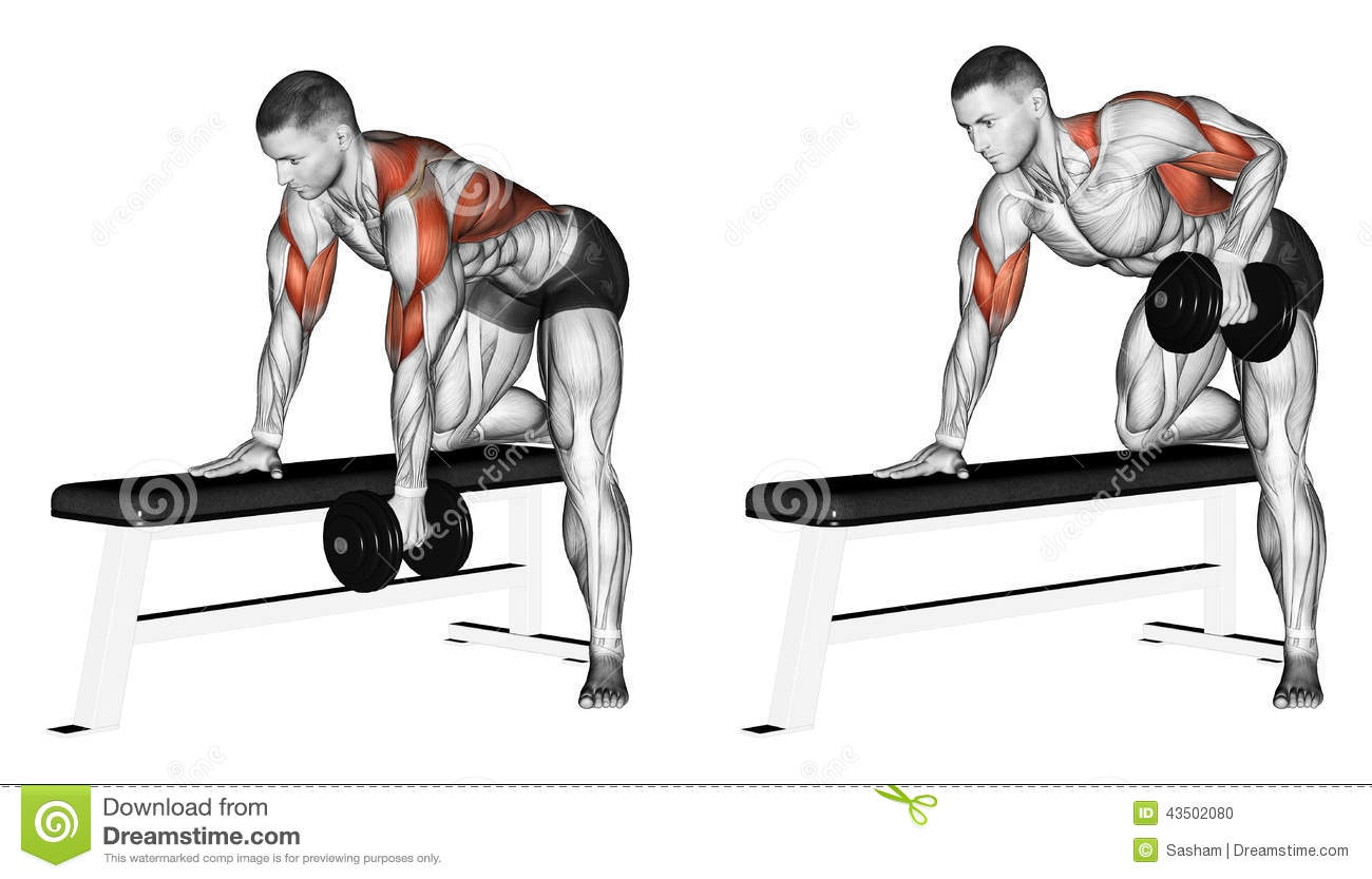 Exercising End Dumbbell With One Hand Stock Illustration