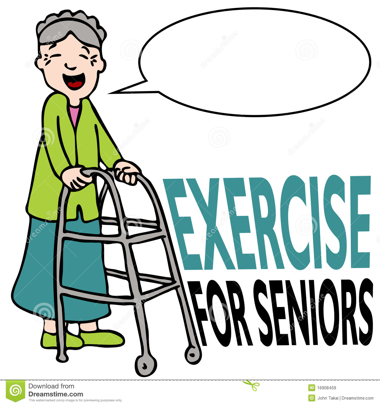 Exercising Senior Lady With Walker Stock Vector ...