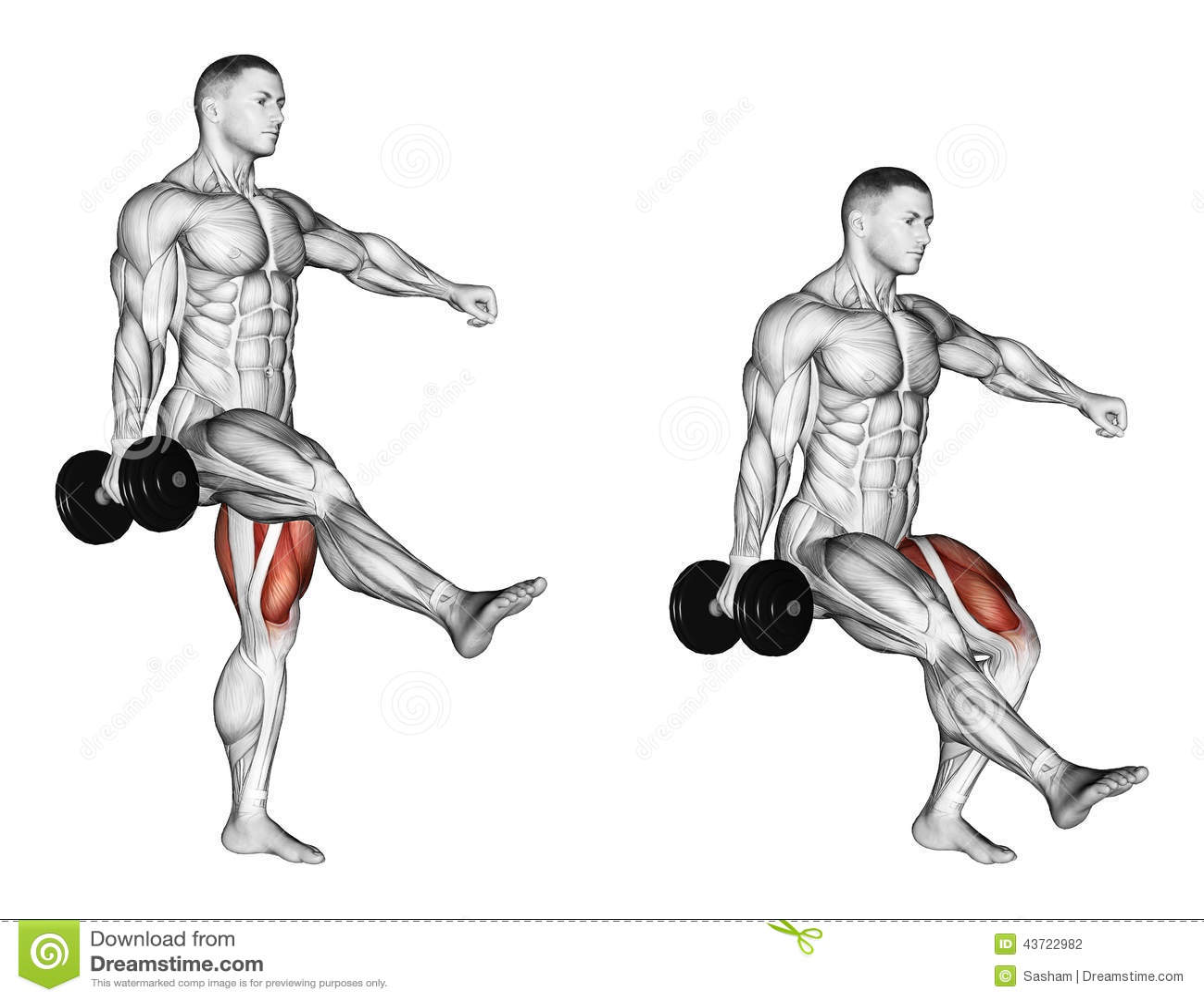 Exercising. Squatting On One Leg Stock Illustration
