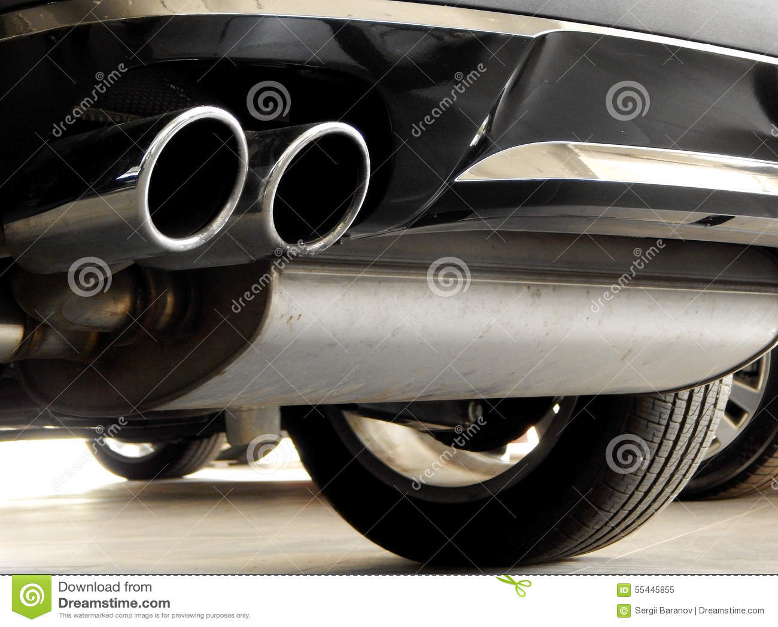 Exhaust Of Car In Car Dealer Shop Closeup Stock Image Image