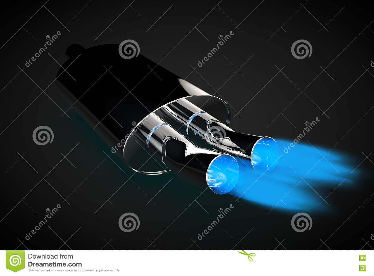 Exhaust Pipe Blue Flame Gas Gasoline Car Tuning Stock