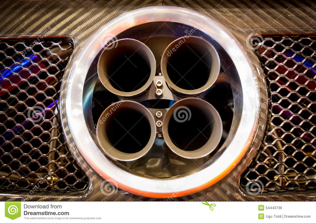 Exhaust Pipes Of A Sports Car Stock Image Image Of Four Muffler