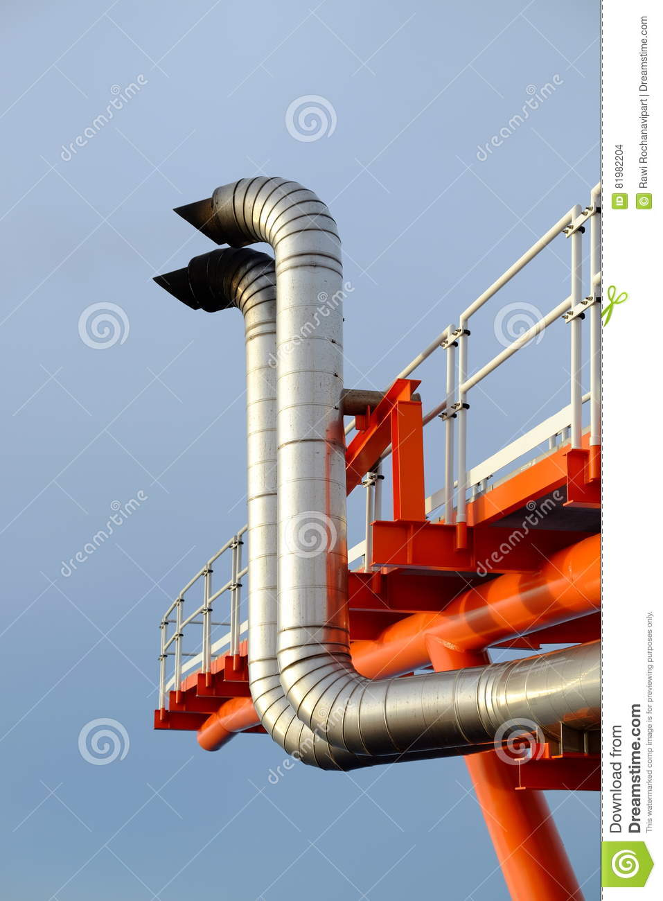 Exhaust of power engine  stock photo  Image of pipe