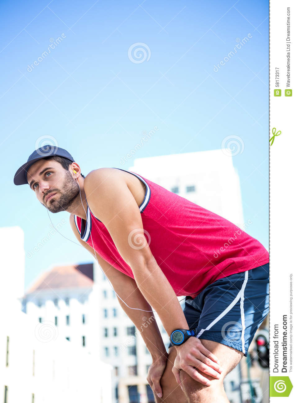 Athlete Leaning Against A Red Blank Board Cartoon Vector ...
