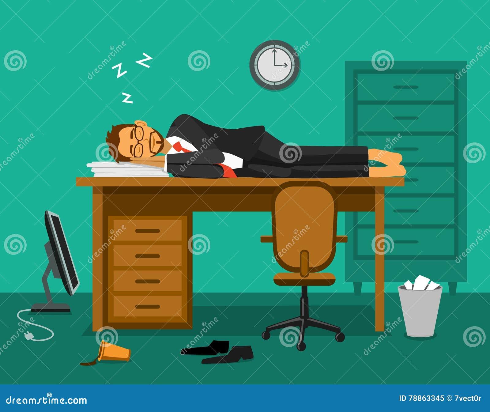 Businessman Sleeping On Work Table Cartoon Cartoon Vector