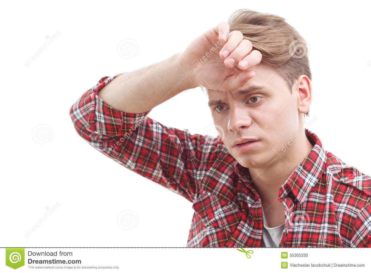 Exhausted Guy Holding His Hand On The Forehead Stock Photo ...