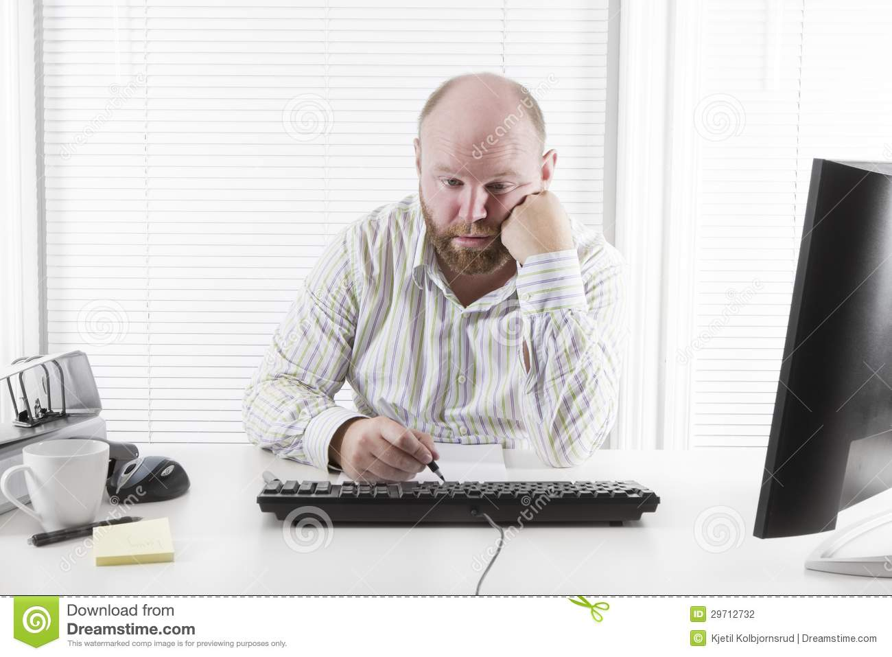 Tired And Exhausted Office Worker Stock Photo - Image of occupation, image:  29712732