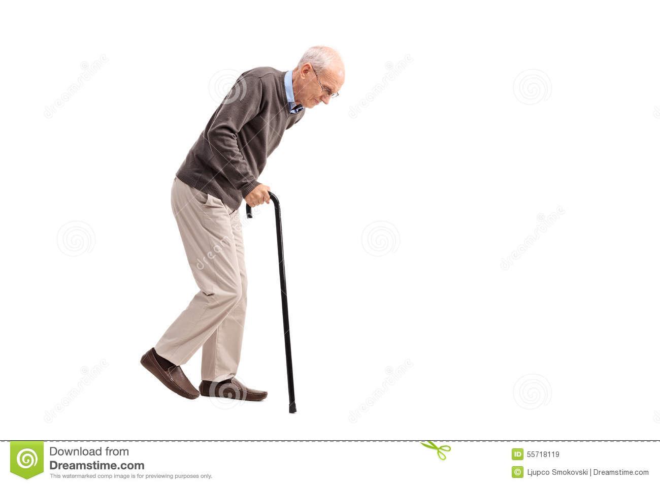 Exhausted Old Man Walking With A Cane Stock Photo - Image ...