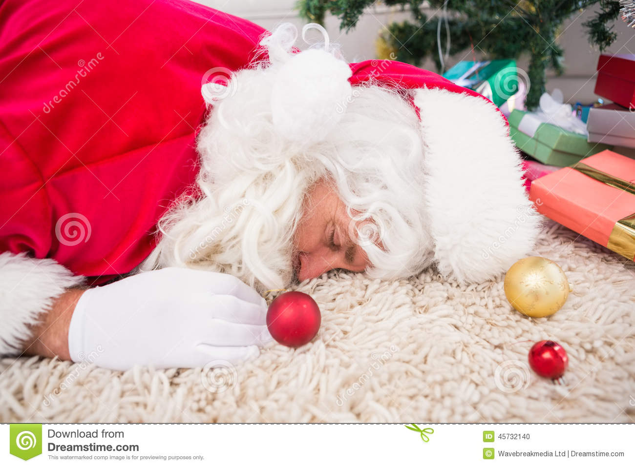 Exhausted Santa Resting On The Rug Stock Photo Image Of