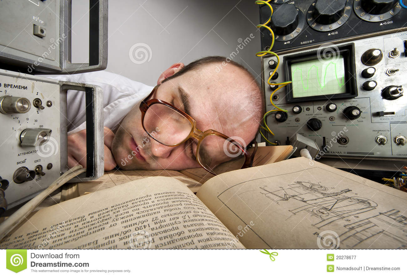 Download Exhausted Scientist Sleeping On Book Stock Image - Image of experiment, nerd: 20278677