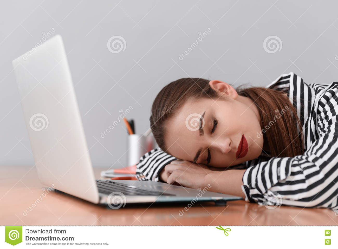 exhausted woman napping at work stock image image of businesswoman