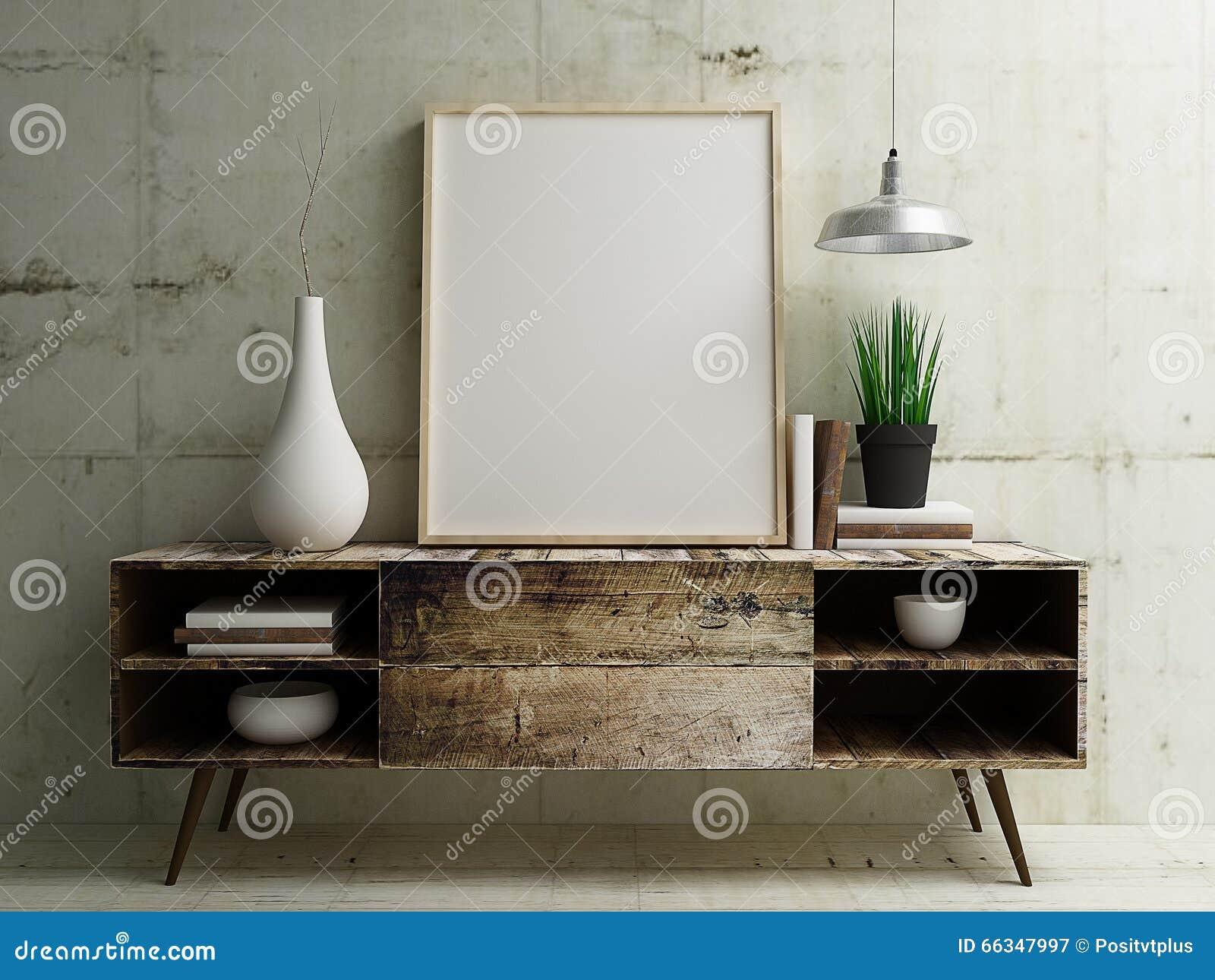 Exhibición de la maqueta del cartel en la tabla de madera del vintage