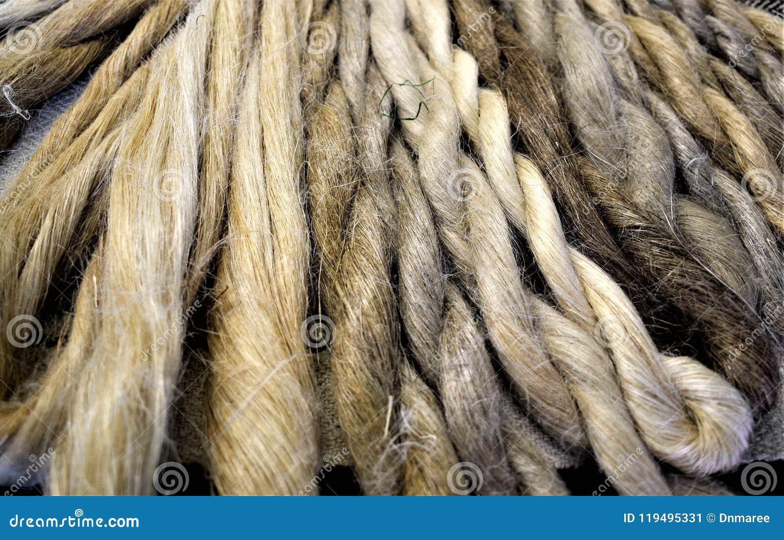 Exhibición de madejas de lino mano-hechas girar naturales