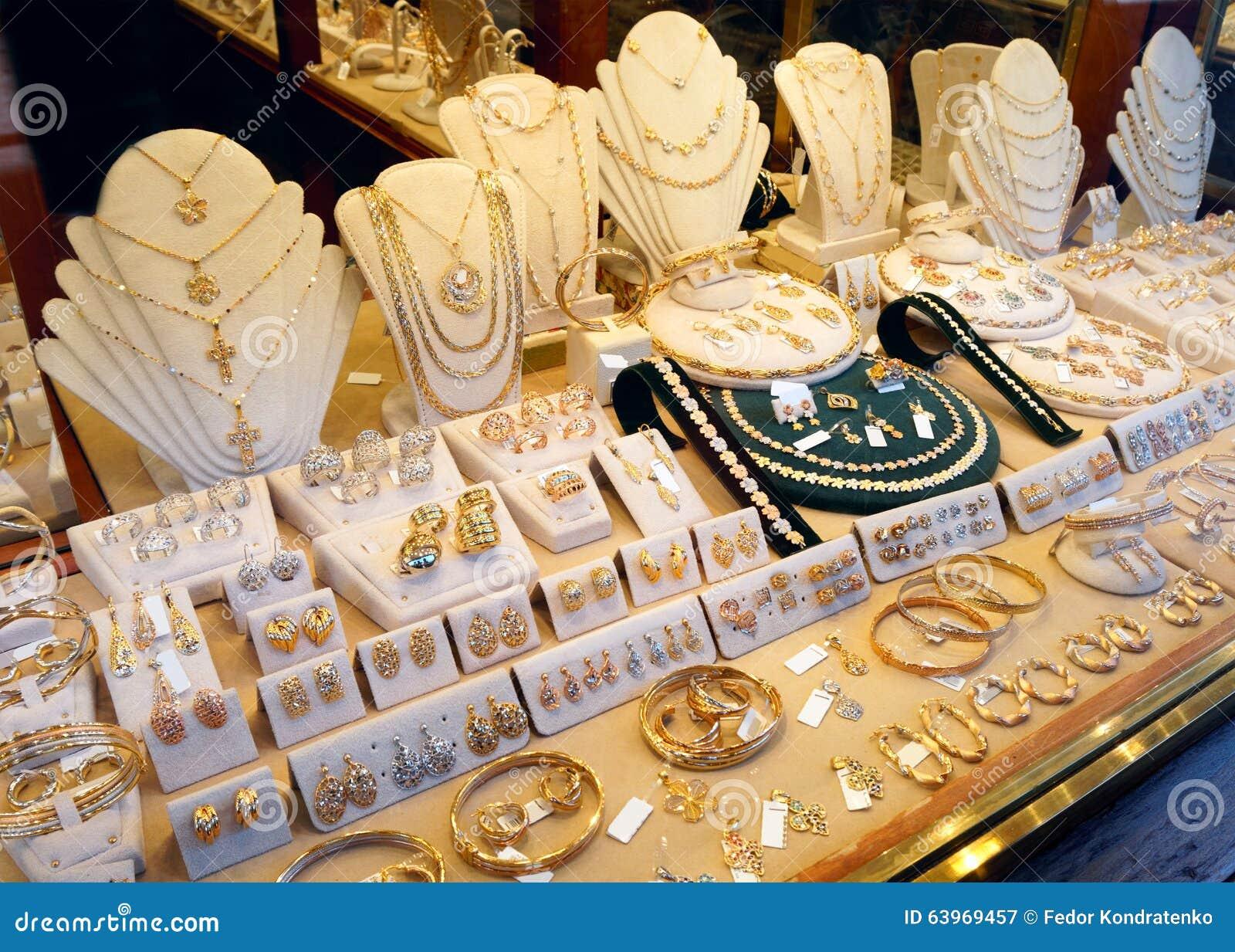 Exhibición del mercado de la joyería