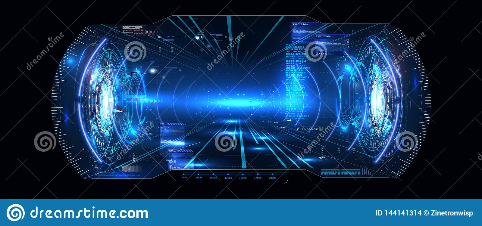 Exhibición futurista HUD UI GUI Interface Screen Design de la cabeza-para arriba del vector VR Realidad virtual Interfaz de usuar