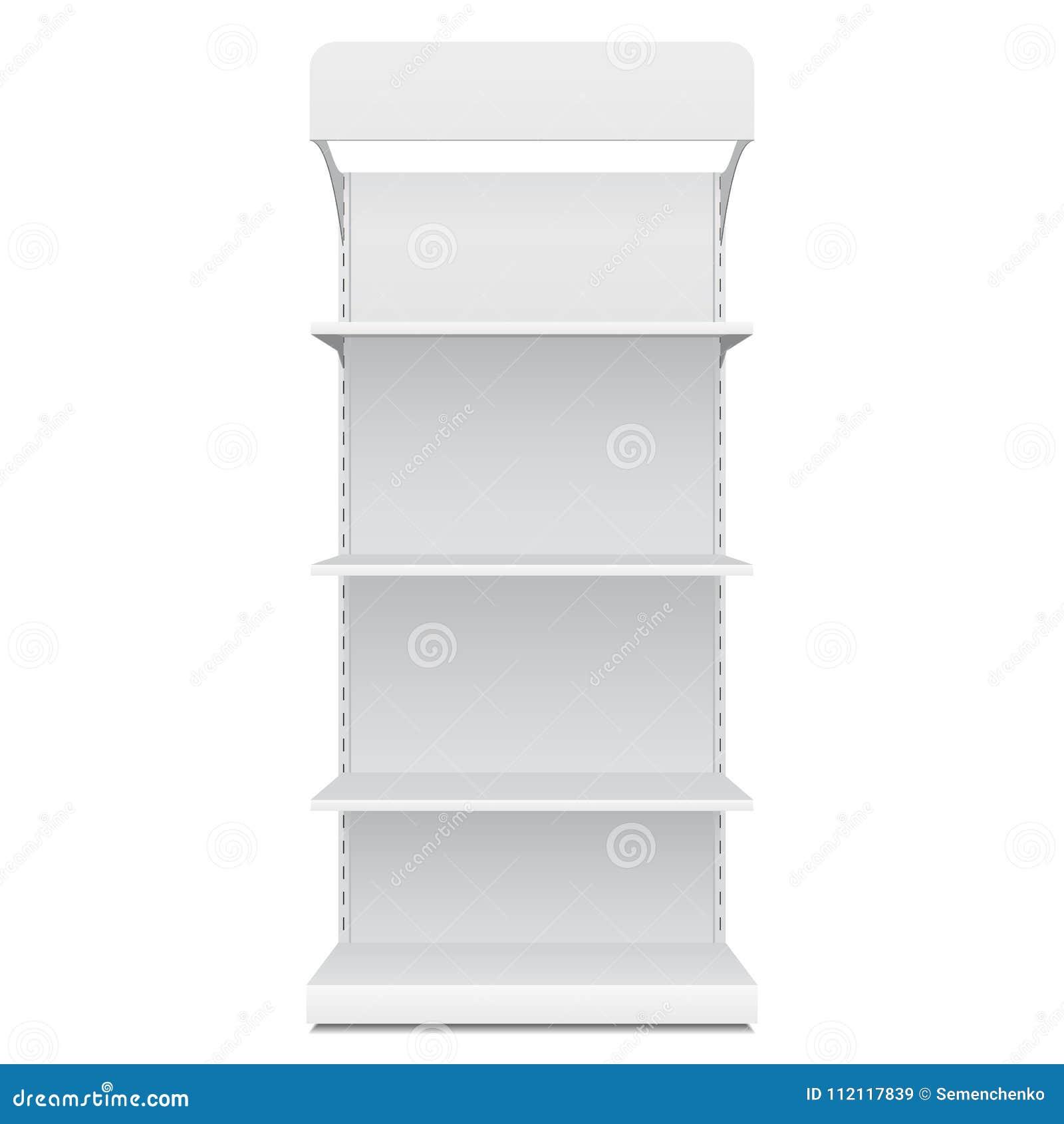 Exhibiciones vacías en blanco blancas del escaparate con los productos al por menor de Front View 3D de los estantes en el fondo
