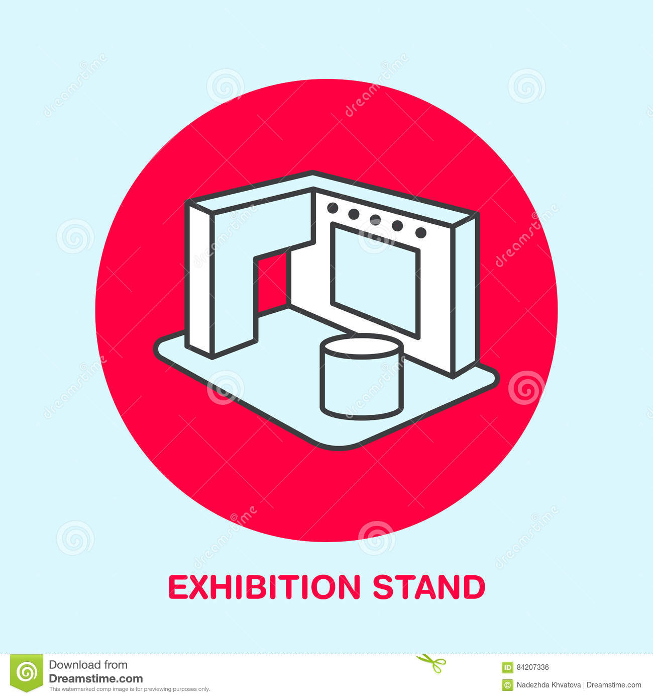 Exhibition Stand Icon : Exhibition banner stand vector line icon advertising sign