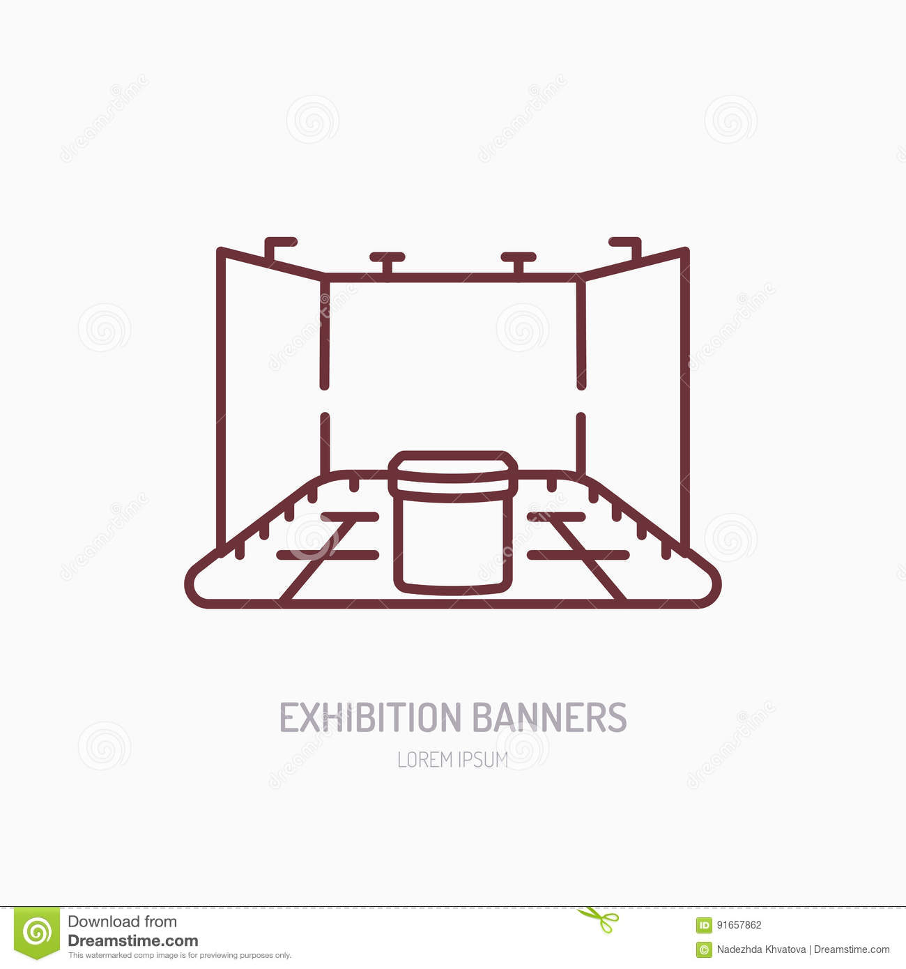 Exhibition Stand Vector : Exhibition banner stand vector line icon advertising sign