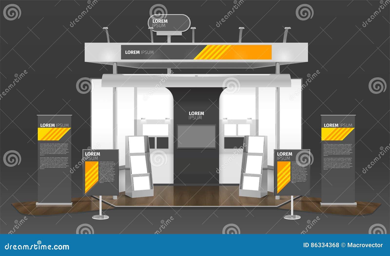 Exhibition Stand Poster Design : Exhibition case design d composition stock vector illustration