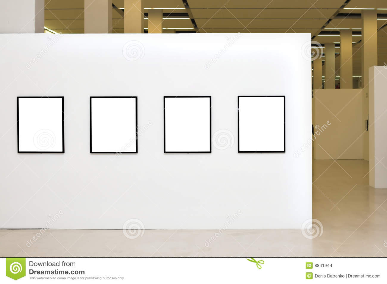 Exhibition with four empty frames on white walls stock for Four blank walls
