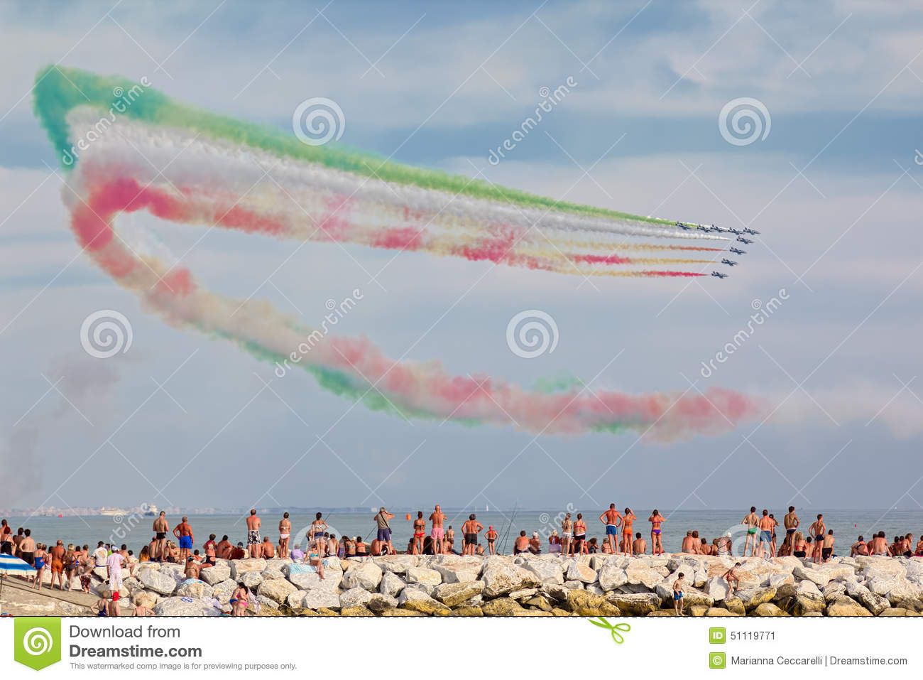 Exhibition of Italian aerobatic team Frecce Tricolori in Versilia Marina di Massa