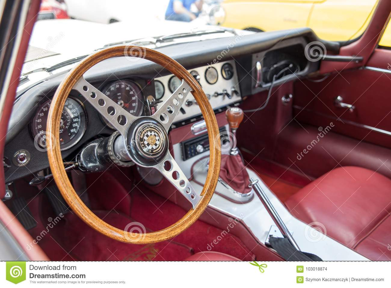 Exhibition Of Old Cars Interior Of An Old Car The Old Model Jaguar