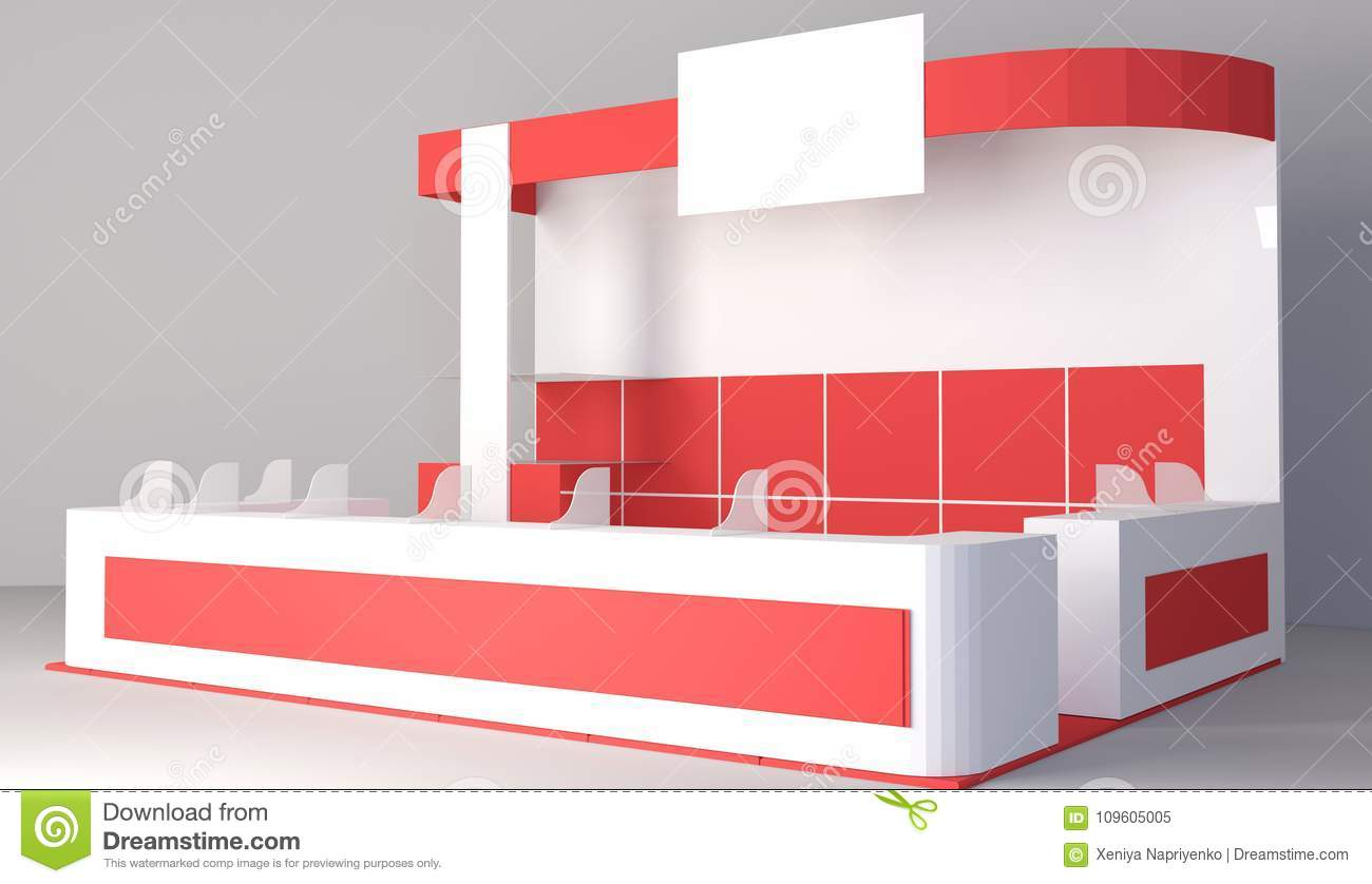 D Rendering Exhibition : Exhibition red stand d rendering visualization of