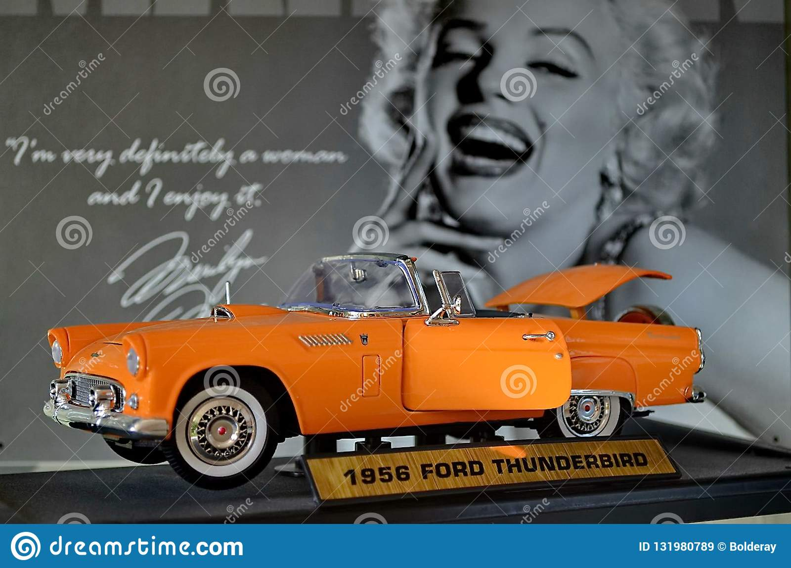 Exhibition of retro cars. Cabriolet car `Ford Thunderbirg`, Also known under the acronym T-Bird. Year of manufacture 1956
