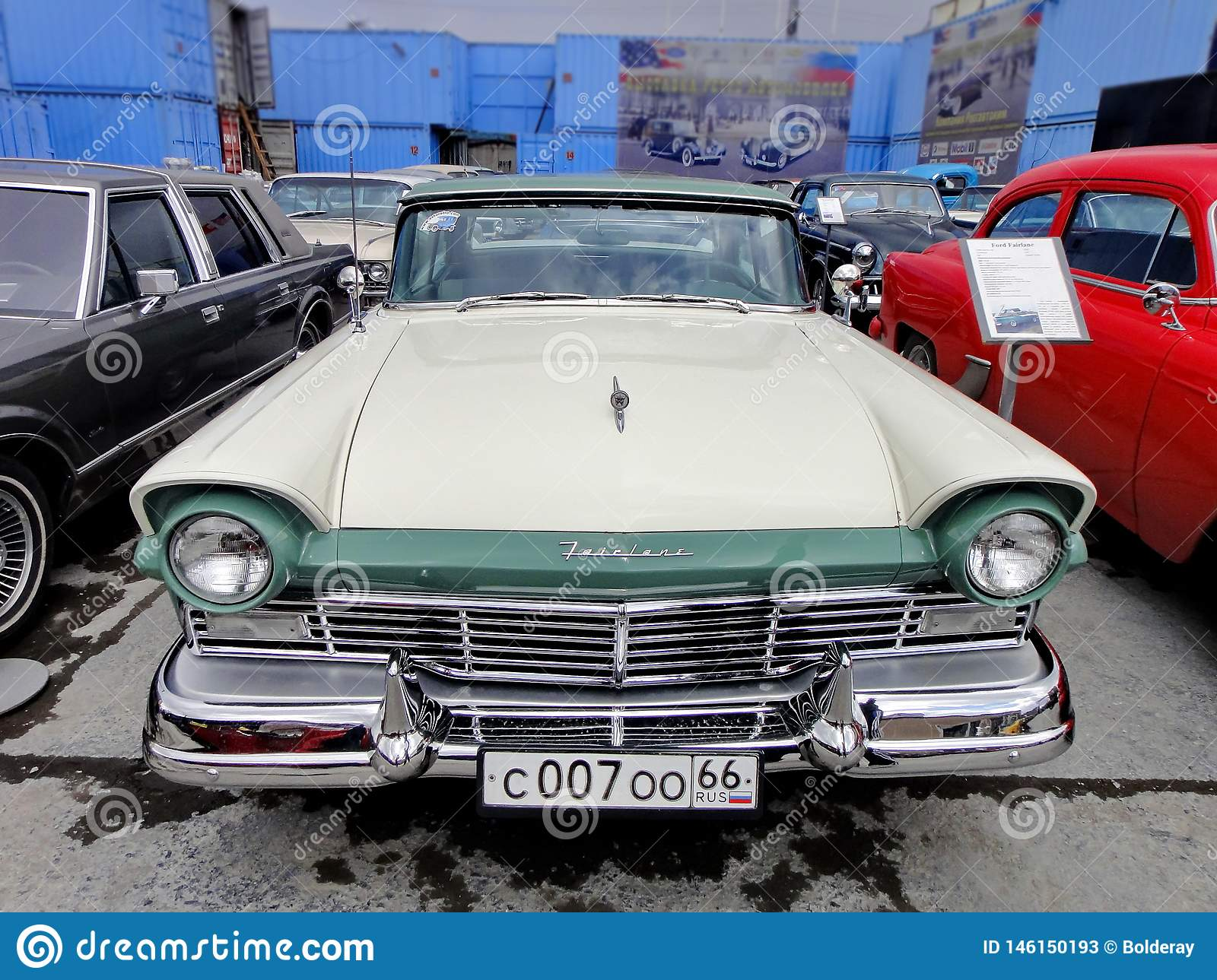 Exhibition Of Retro Cars  Car `Ford Fairlane`, Year Of