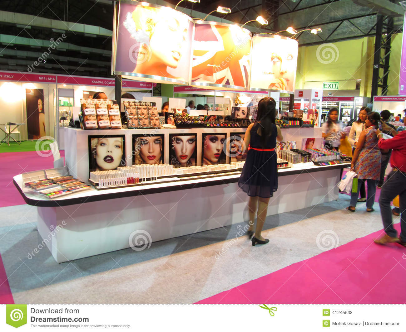 Expo Stands Eyeshadow : Exhibition stand of beauty products editorial stock photo