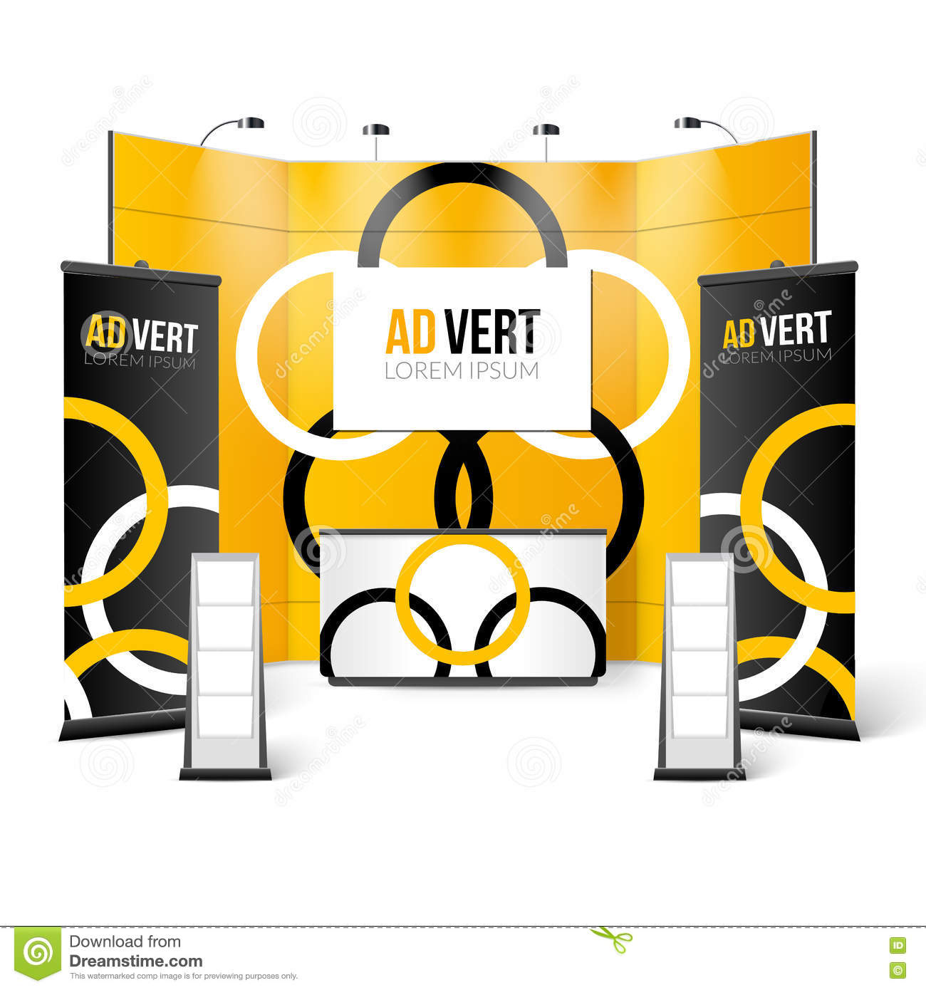 Exhibition Stand Design Vector : Exhibition stand bright design cartoon vector
