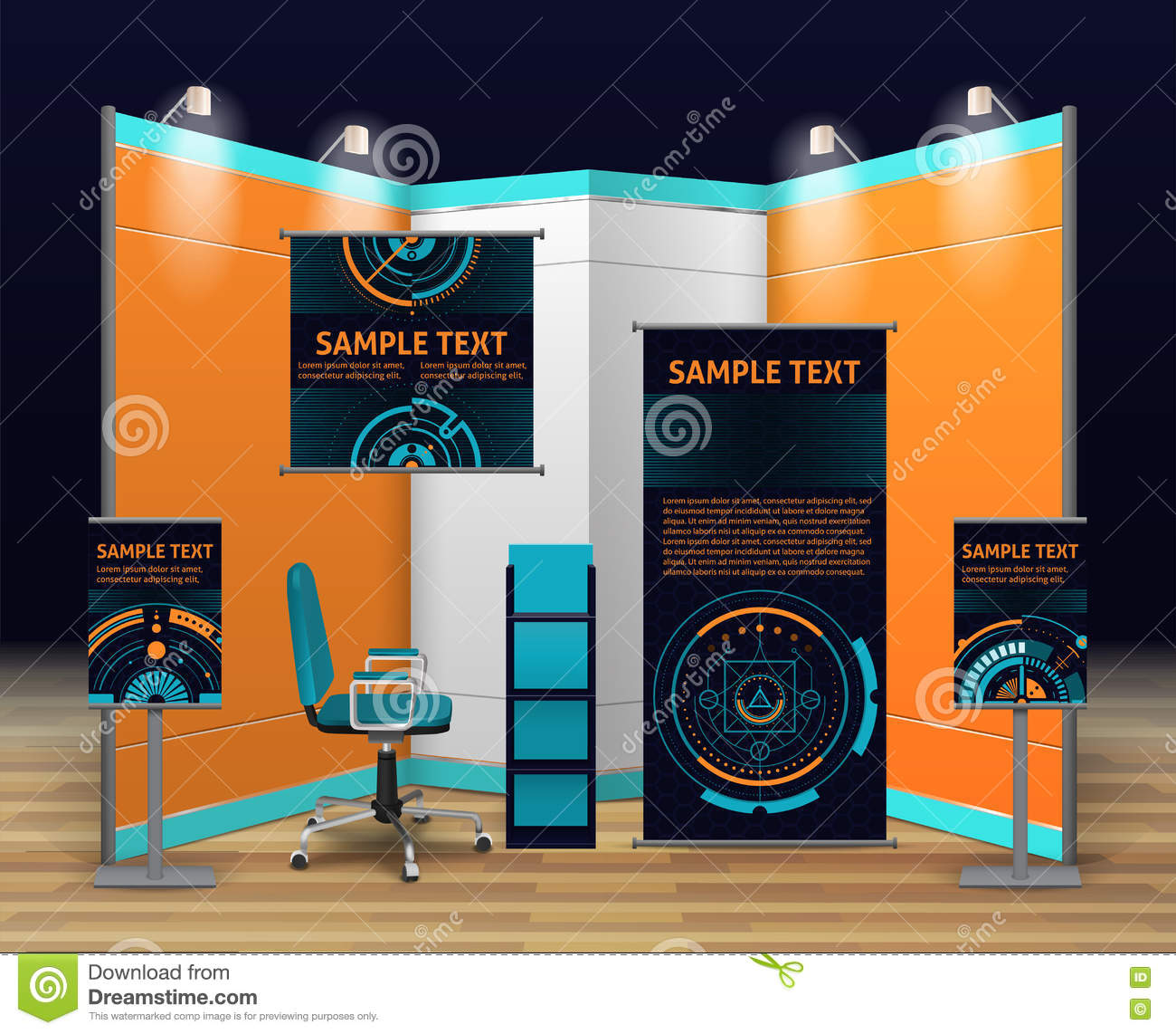 Exhibition Stall Xl : Exhibition stand design stock vector. illustration of chair 79064302