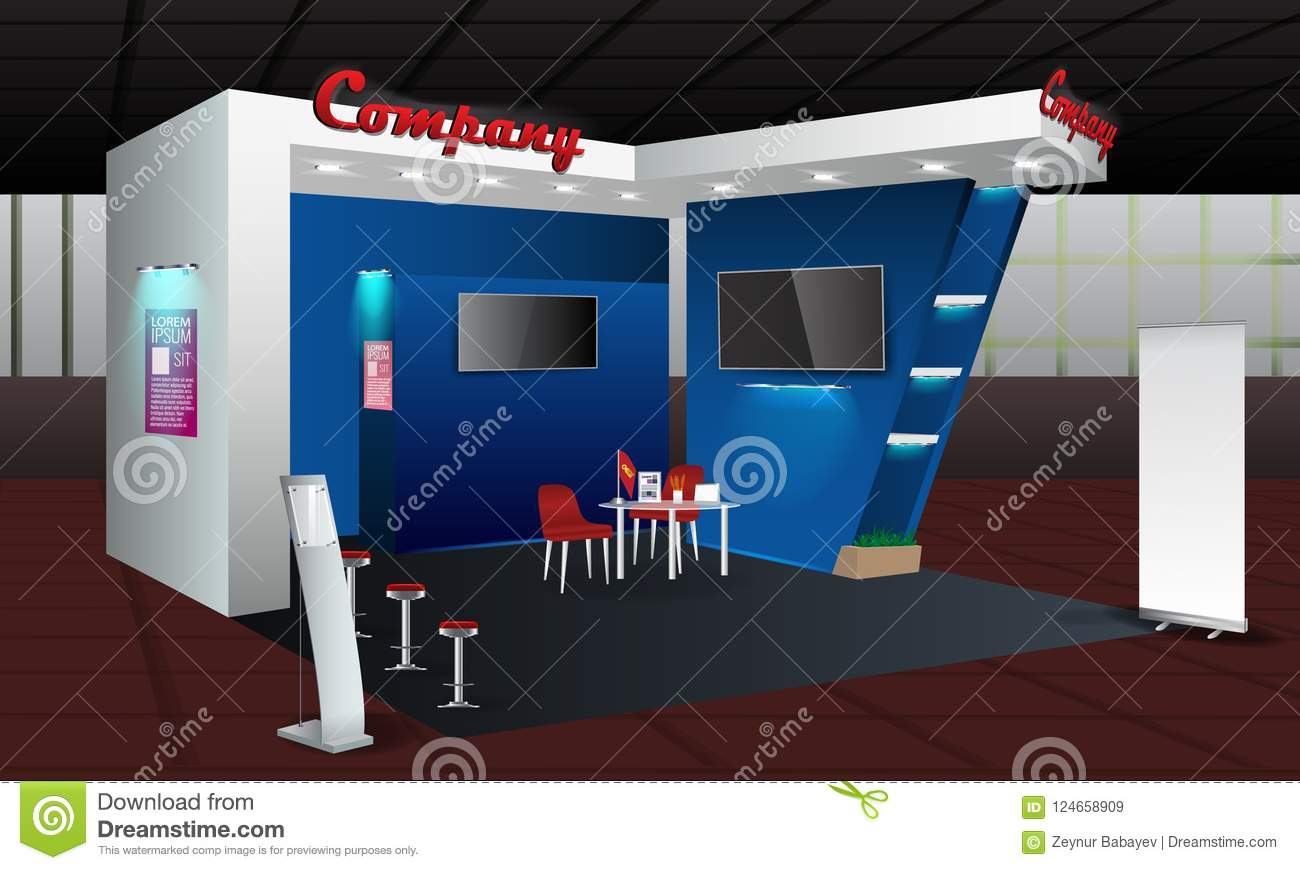 Exhibition Stand Template : Exhibition stand display design with info board roll up vector