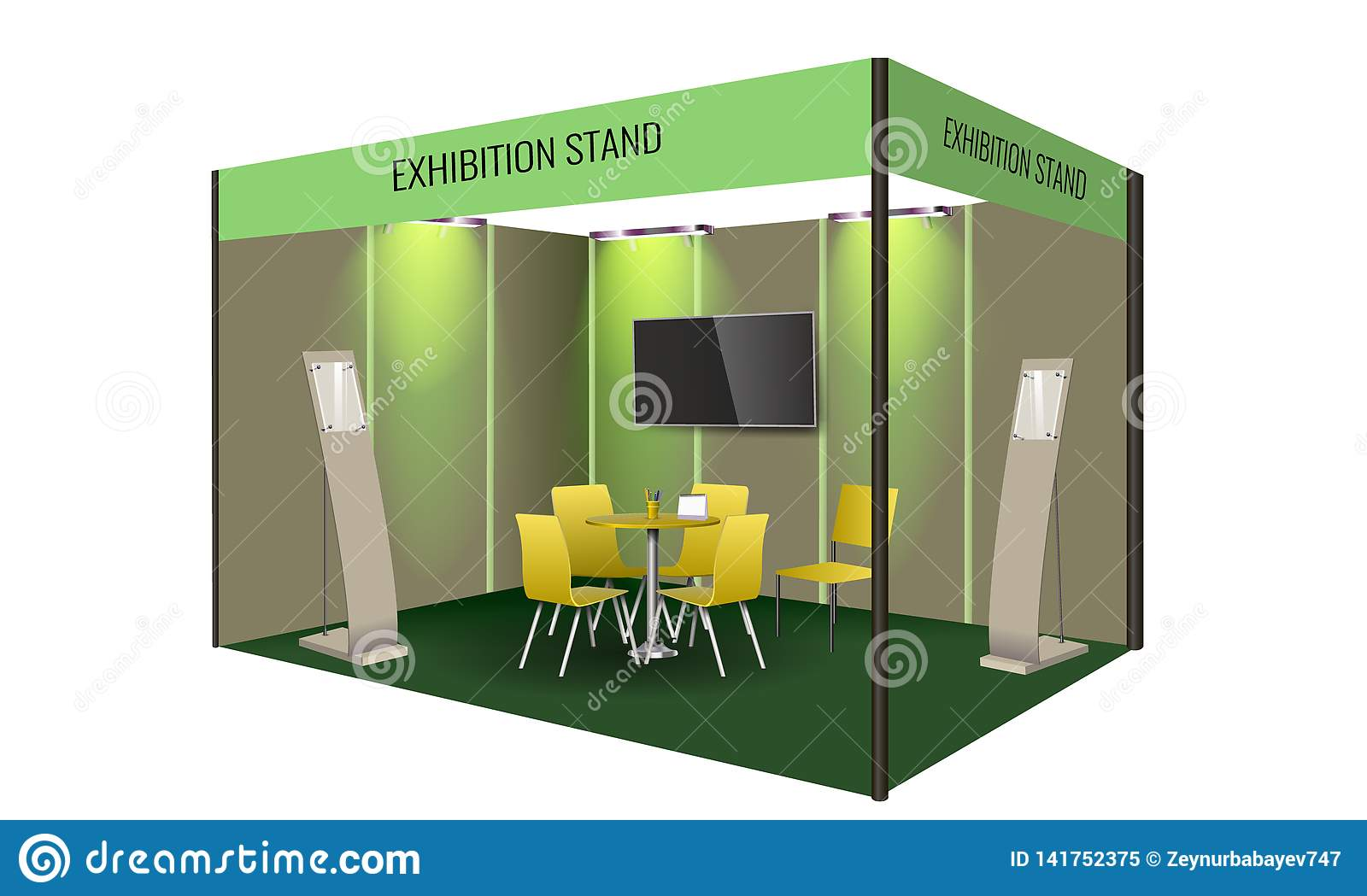 Exhibition Booth Banner : Exhibition stand display design with table and chair info board