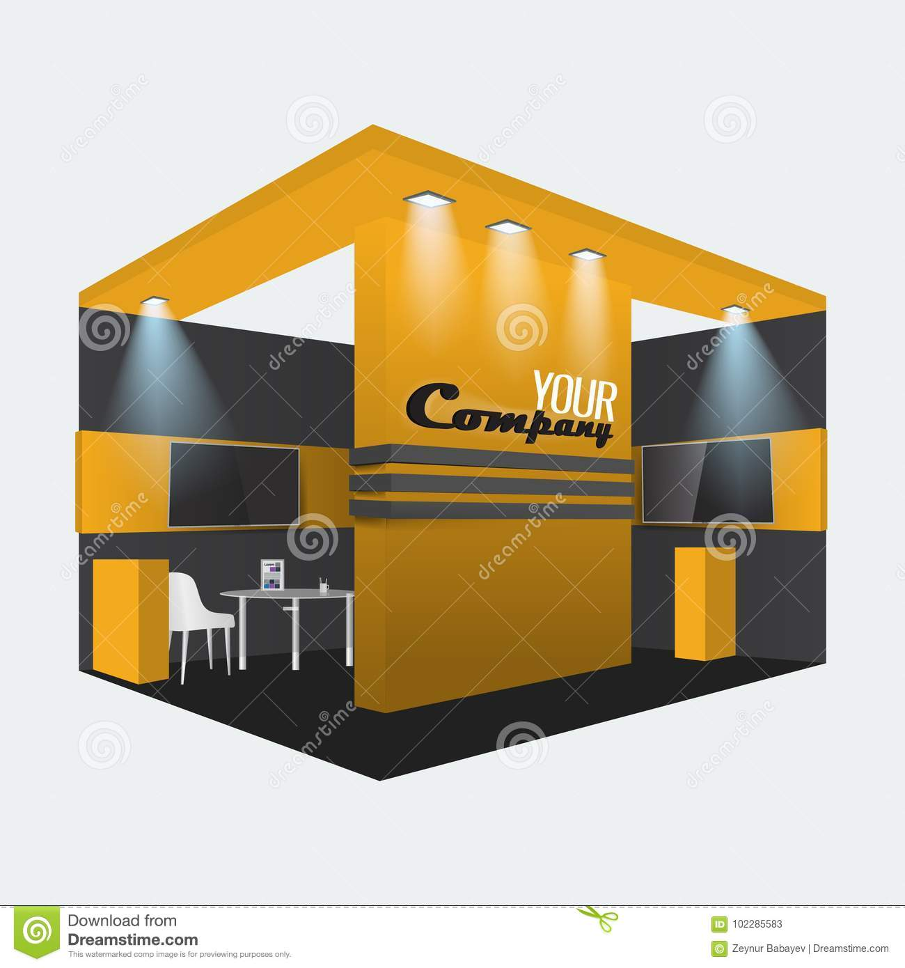 Exhibition Booth Mockup Free Download : Exhibition stand display trade booth mockup design orange and