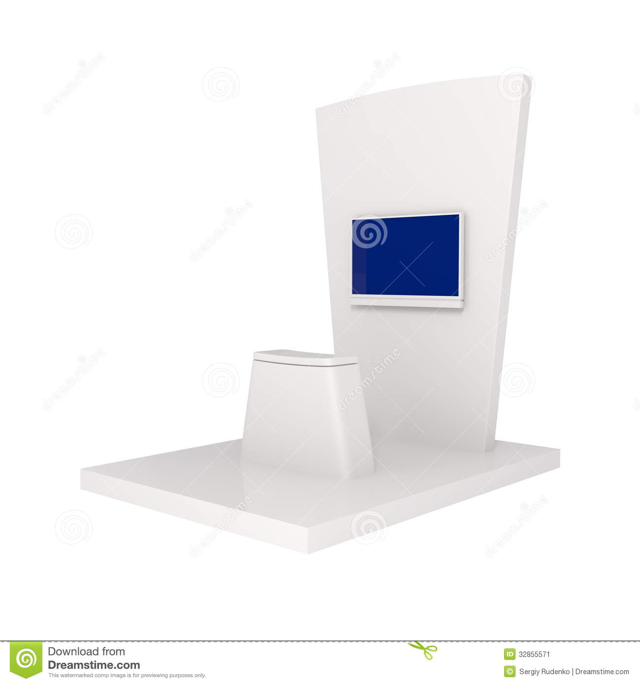 Exhibition Stand White : Exhibition stand isolated on white stock image