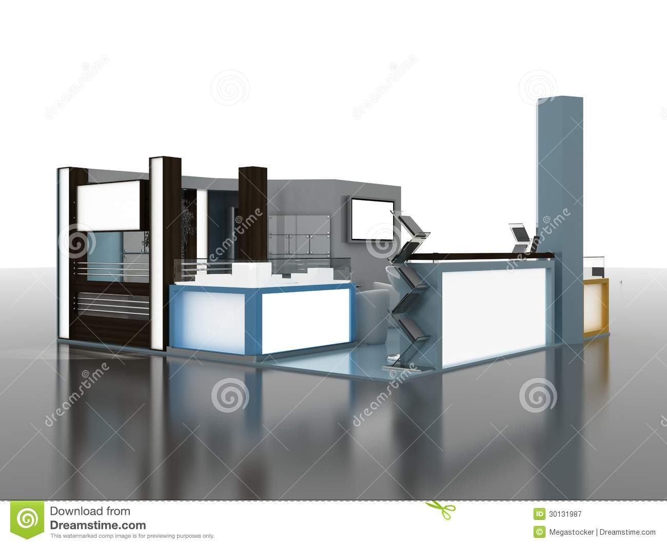 Exhibition Stand Interiors : Exhibition stand interior exterior sample stock illustration