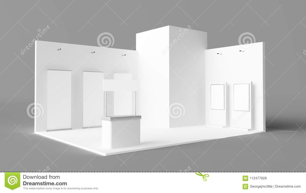 Exhibition Stand Reception : Exhibition stand with pos pois reception desk and rollers stock