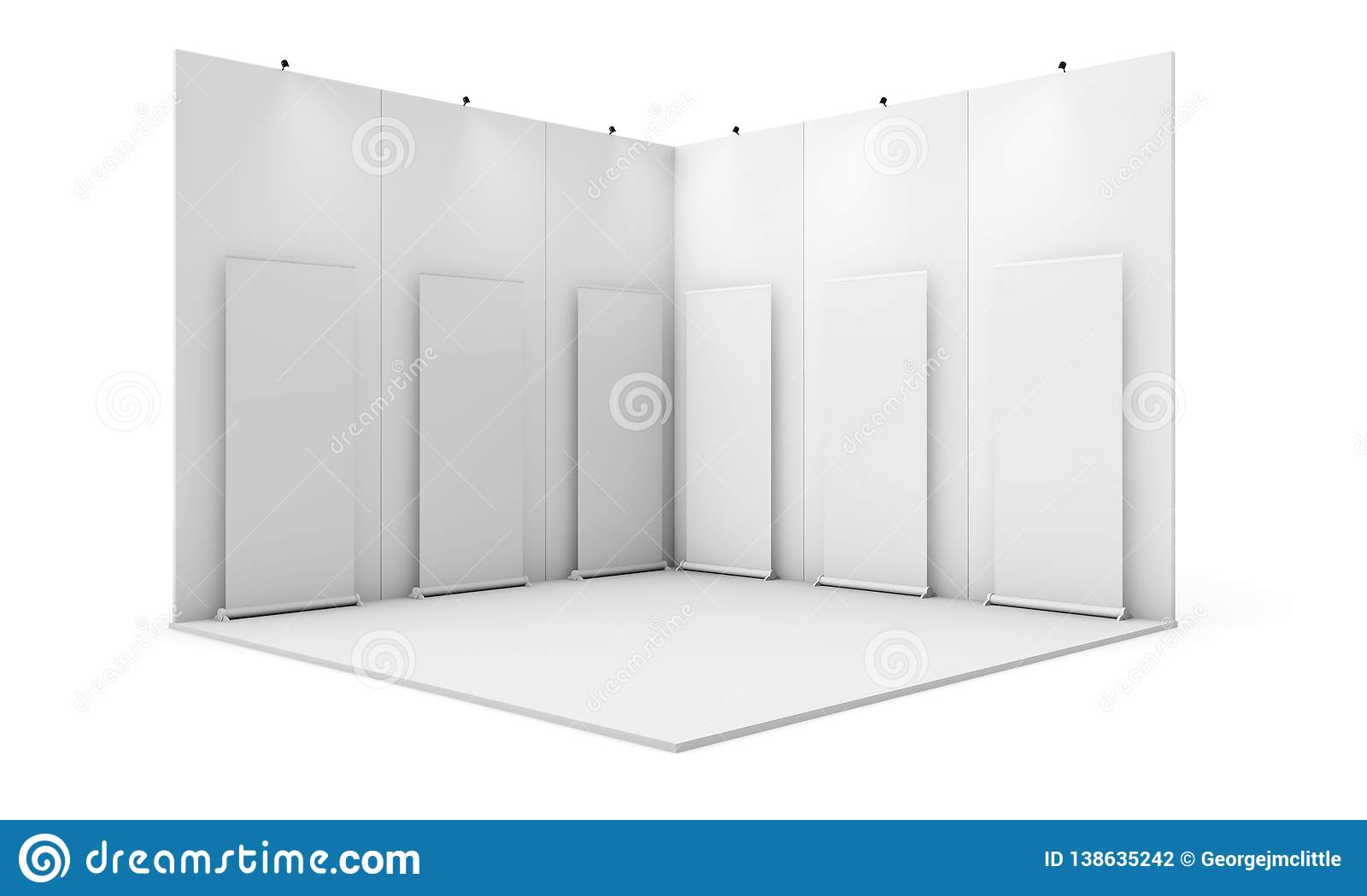 Exhibition Stand Reception : Exhibition stand with six rollups stock illustration illustration