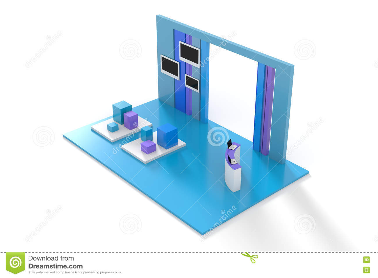 D Exhibition Model Download : Exhibition stand on white d render stock illustration