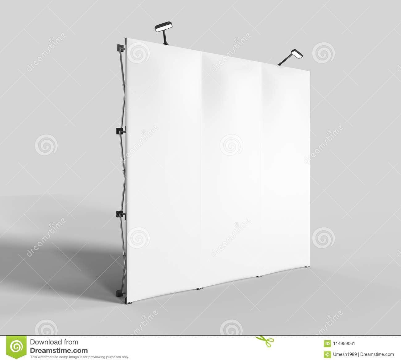 Exhibition Tension Fabric Display Banner Stand Backdrop for trade show advertising stand with LED OR Halogen Light with standees a