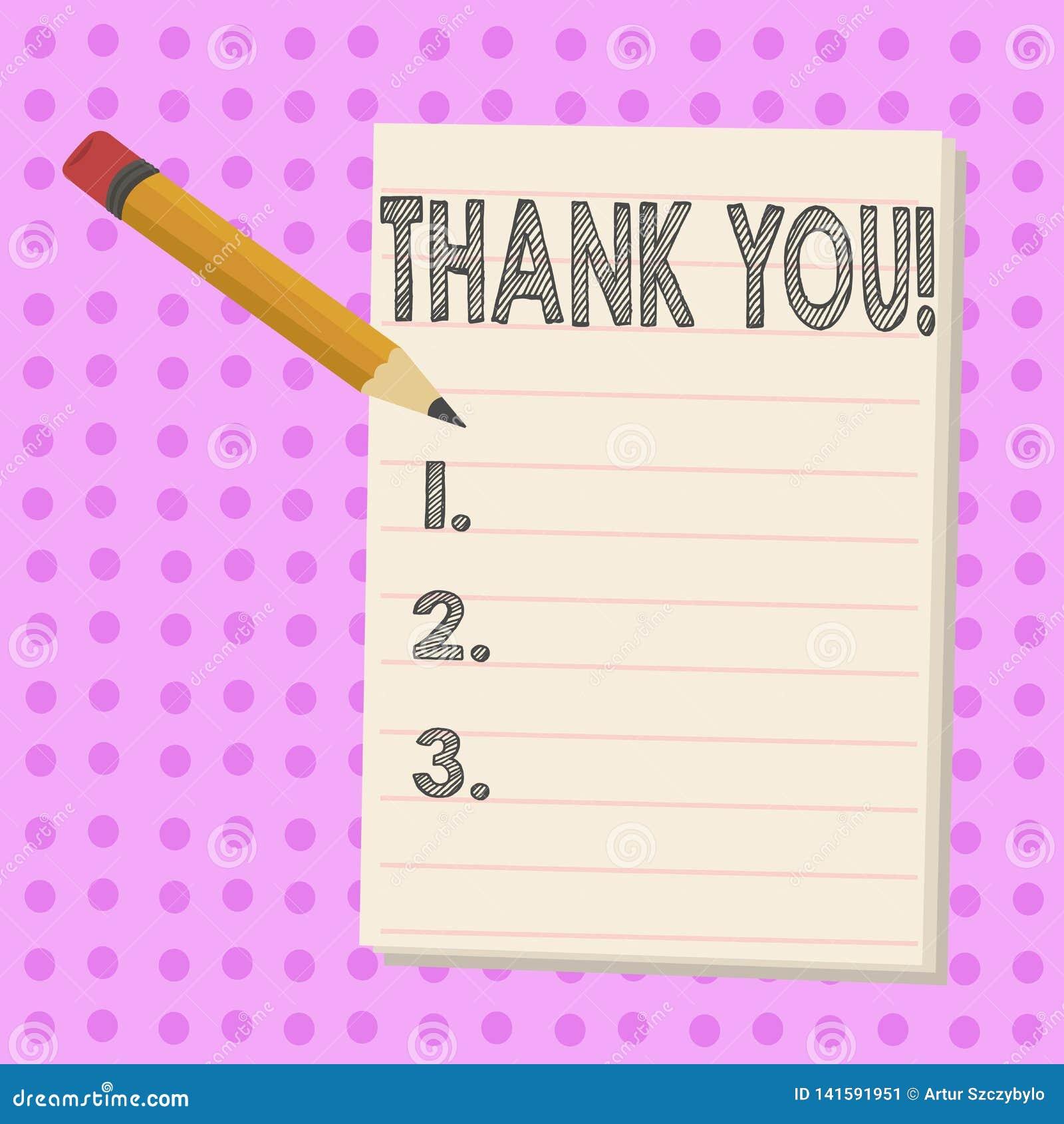A exibição da nota da escrita agradece-lhe Gratitude apresentando do reconhecimento do cumprimento da apreciação da foto do negóc