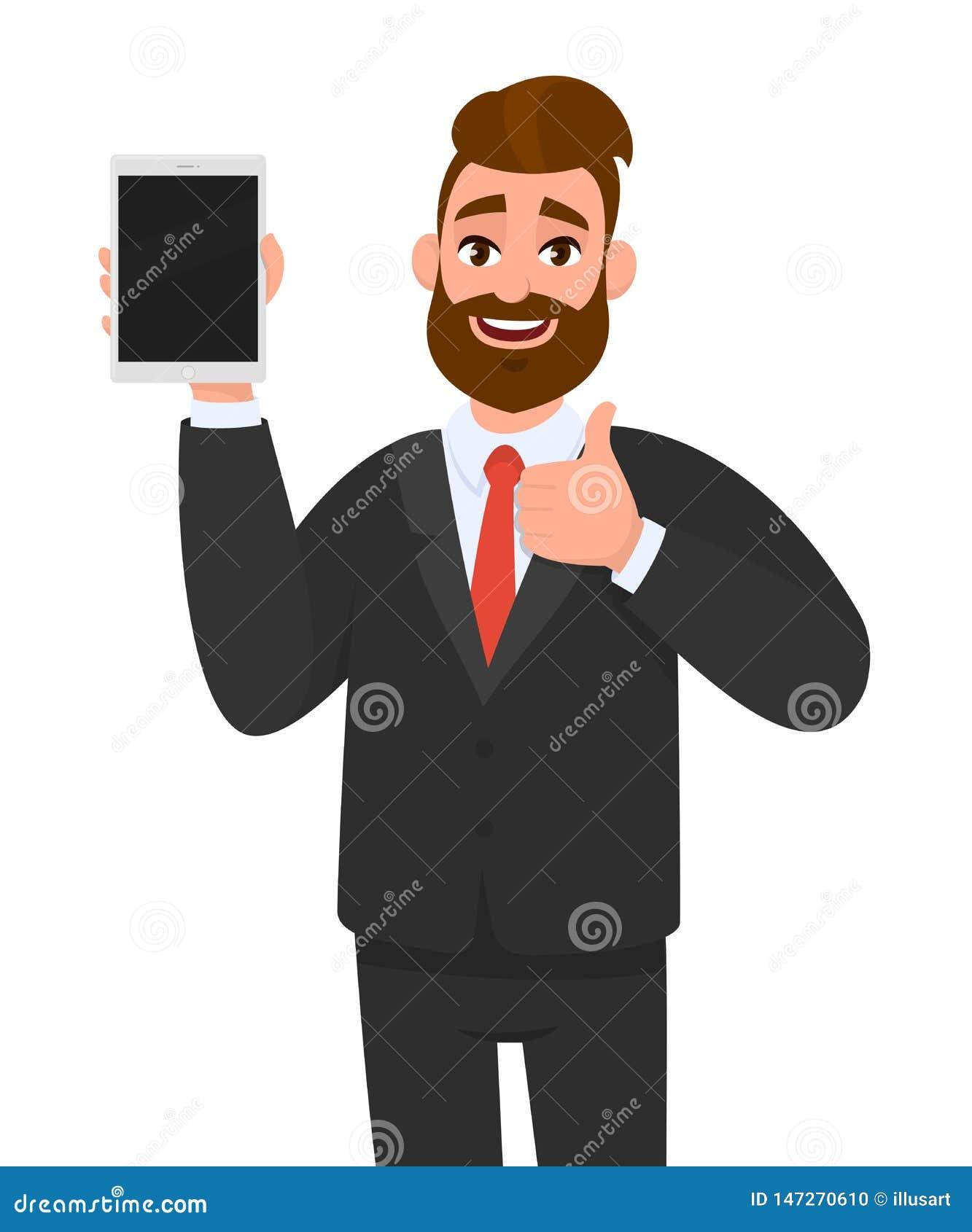 Exibição do homem de negócio, guardando a tela vazia do tablet pc digital novo & de gesticular/que fazem, mostrando os polegares